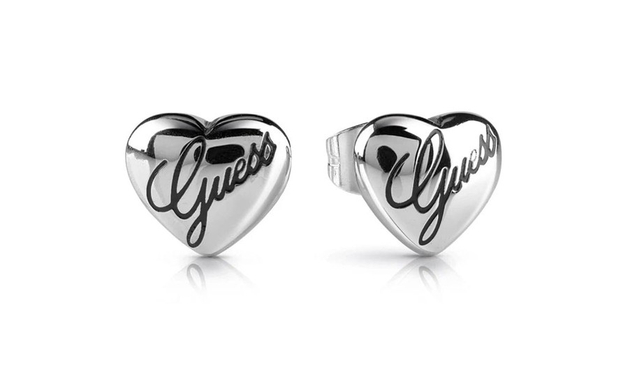 GUESS NEVER WITHOUT LOGO HEART EARRINGS UBE28066