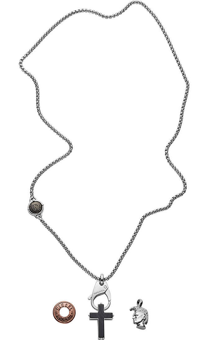 DIESEL Stainless Steel Interchangeable Pendant Necklace DX1215040